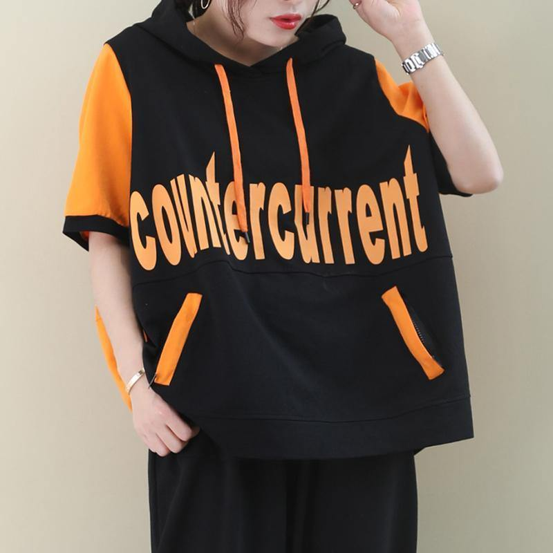 Women o neck cotton summer tunics for women Sewing orange Letter blouses