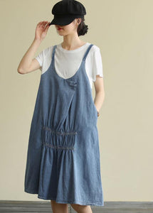 Women o neck false two pieces Cotton summer quilting dresses design blue Dress