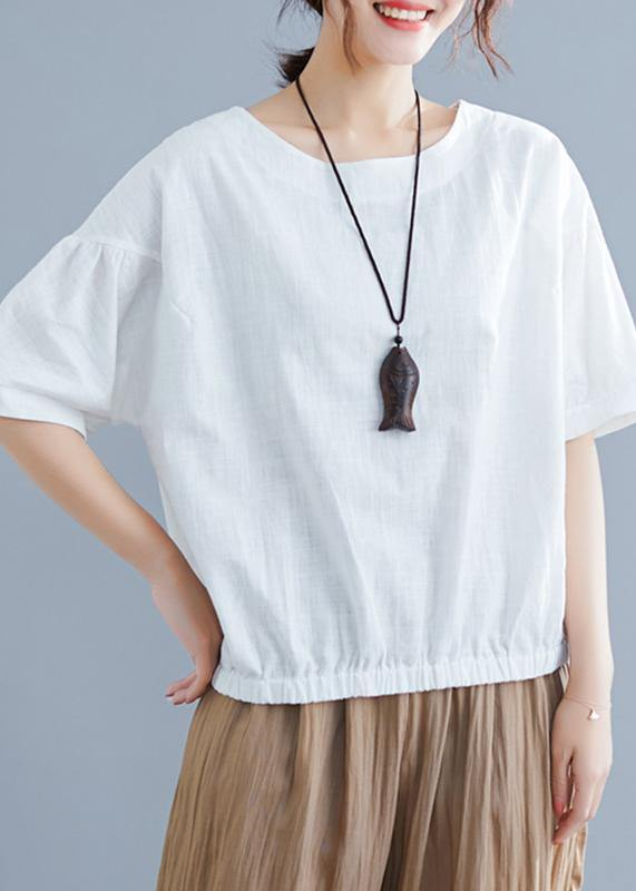 Women o neck half sleeve cotton linen clothes For Women white shirt summer
