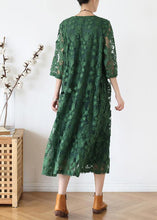 Load image into Gallery viewer, Women o neck half sleeve dress Inspiration green Maxi Dress