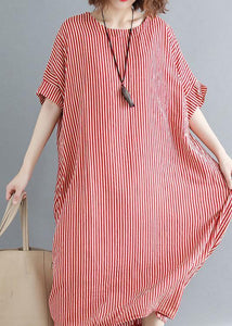 Women o neck linen Robes Omychic Catwalk red striped daily Dress summer