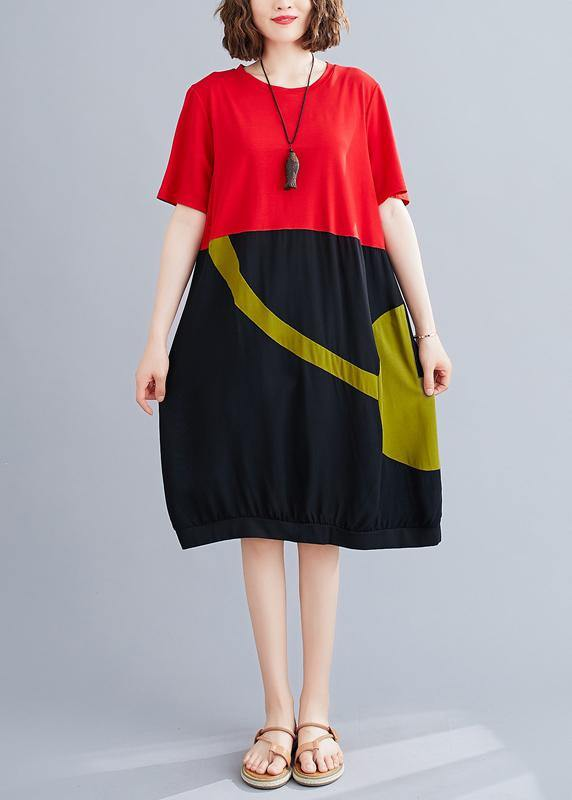 Women o neck patchwork Cotton dress red Dresses