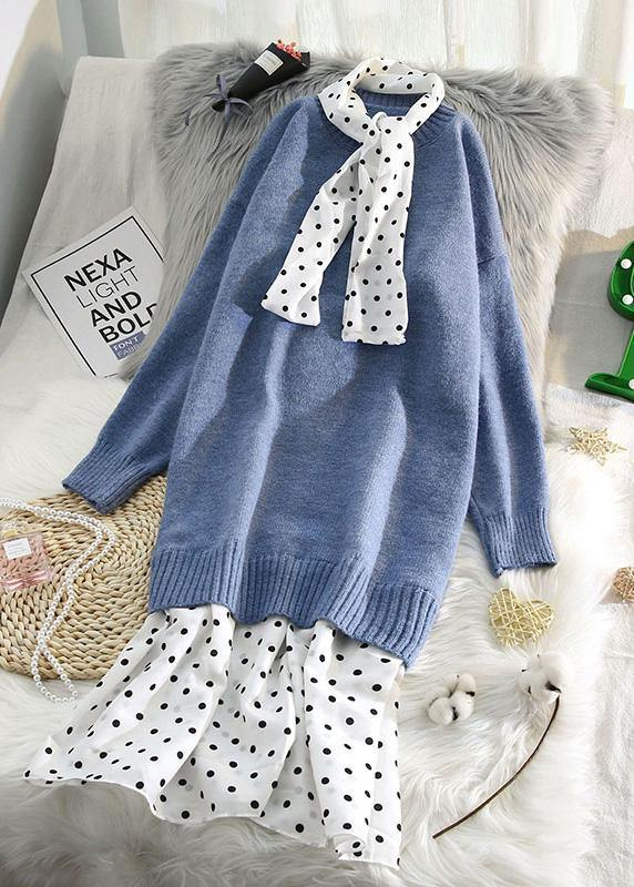 Women o neck patchwork Sweater outfits plus size blue Fuzzy sweater dresses