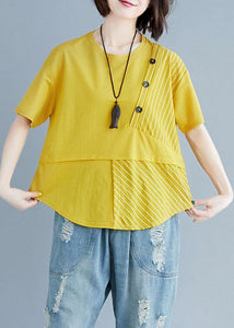 Women o neck patchwork cotton blouses for women yellow top summer