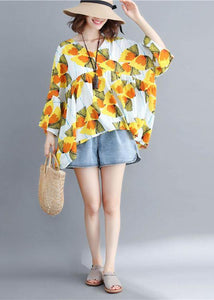 Women o neck patchwork cotton shirts yellow print top