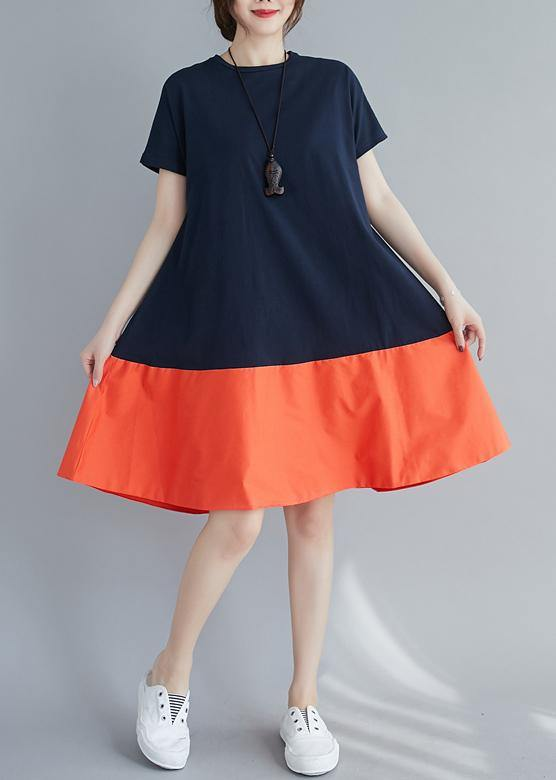 Women o neck patchwork summer quilting dresses Shape orange Dress