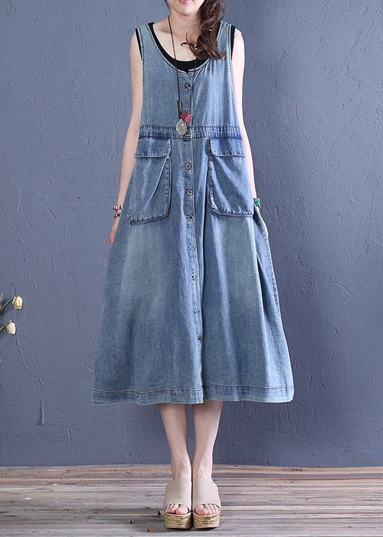 Women o neck pockets Cotton summer Tunics Tutorials denim blue Dresses