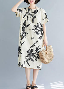 Women o neck pockets Cotton summer dresses pattern beige print Dress
