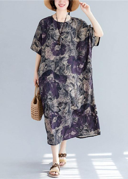 Women o neck pockets linen cotton summer Wardrobes Sleeve floral Dress