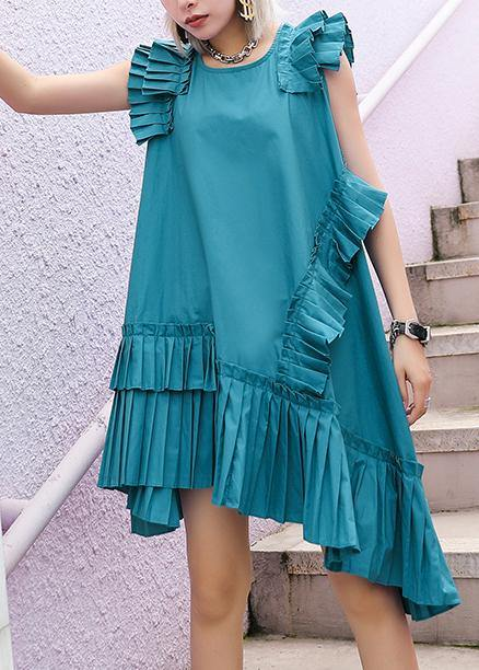 Women o neck wrinkled Cotton Wardrobes blue green Dresses