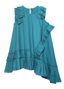 Women o neck Cinched Cotton Wardrobes blue green Dresses