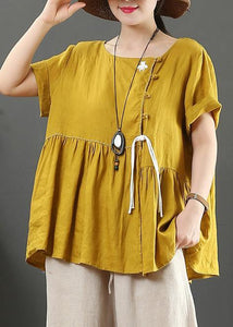Women o neck wrinkled linen clothes design yellow shirts
