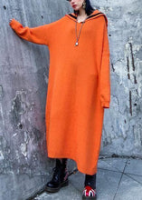 Load image into Gallery viewer, Women orange Sweater Aesthetic Largo Sailor Collar Big winter knitted tops