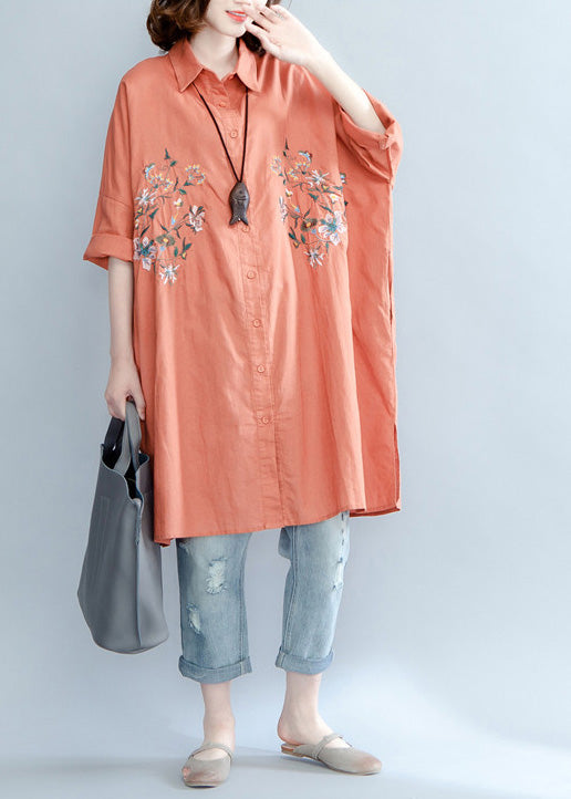 Women orange red linen crane tops Plus Size Tutorials lapel embroidery Summer shirt