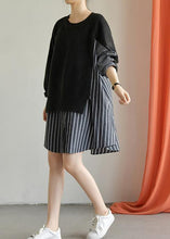 Load image into Gallery viewer, Women patchwork Cotton dress Wardrobes black Dress fall