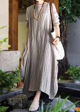 Load image into Gallery viewer, Women patchwork linen Robes Sleeve nude Dresses fall