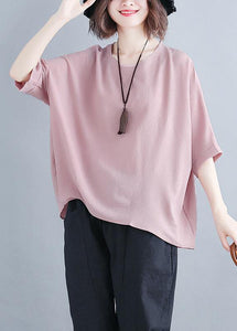 Women pink chiffon clothes Fashion Catwalk o neck Batwing Sleeve Summer tops