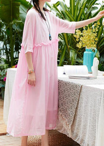 Women pink cotton linen Robes o neck patchwork A Line summer Dresses