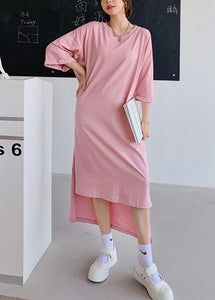 Women pink dress o neck low high design Vestidos De Lino summer Dress