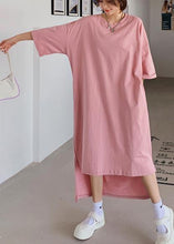 Load image into Gallery viewer, Women pink dress o neck low high design Dresses summer Dress