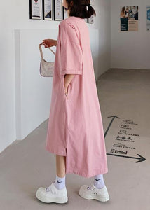 Women pink dress o neck low high design Dresses summer Dress