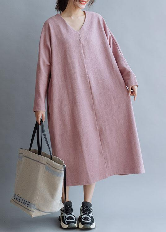 Women pink linen cotton outfit v neck Traveling fall Dresses