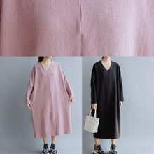 Load image into Gallery viewer, Women pink linen cotton outfit v neck Traveling fall Dresses
