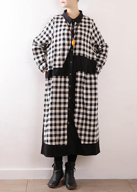 Women plaid cotton clothes For Women lapel collar Art autumn shirt dress