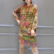 Load image into Gallery viewer, Women prints casual cotton wild sweater dresses plus size slim fit elastic knit dress