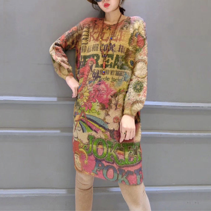 Women prints casual cotton wild sweater dresses plus size slim fit elastic knit dress