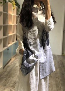 Women prints linen Robes lapel collar short fall shirt Dresses