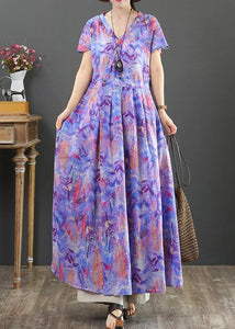 Women purple print cotton clothes v neck wrinkled Plus Size Clothing Dress
