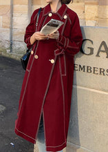 Load image into Gallery viewer, Women red Fashion maxi coat Fabrics double breast winter outwears