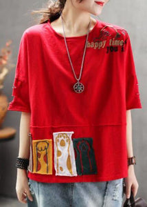 Women red cotton clothes For Women Korea Summer Loose Retro Ripped Hole Embroidery T-Shirt