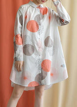 Load image into Gallery viewer, Women red dotted Cotton tunic pattern lapel asymmetric baggy fall Dresses