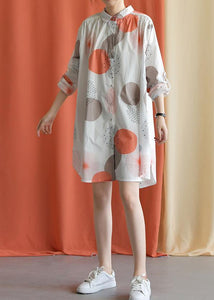 Women red dotted Cotton tunic pattern lapel asymmetric baggy fall Dresses