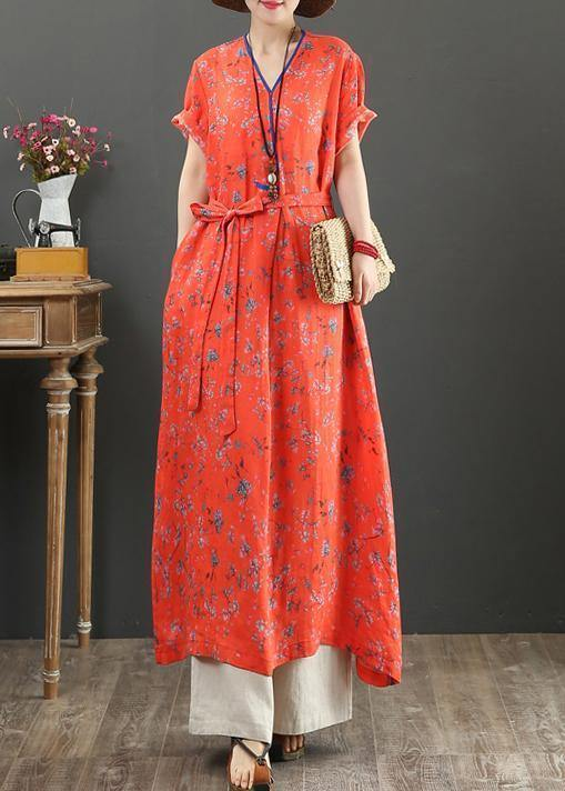 Women red print cotton quilting clothes v neck tie waist Kaftan Dress
