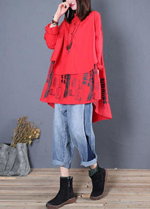 Women red print cotton tunics stand collar patchwork cotton fall blouse