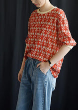 Load image into Gallery viewer, Women red prints blended linen tops women o neck Plus Size Clothing fall tops