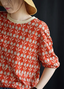 Women red prints blended linen tops women o neck Plus Size Clothing fall tops