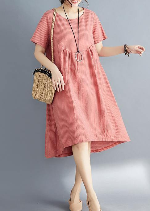392c9a9a3335 ... Load image into Gallery viewer, Women red striped Cotton clothes stylish  o neck asymmetric tunic ...