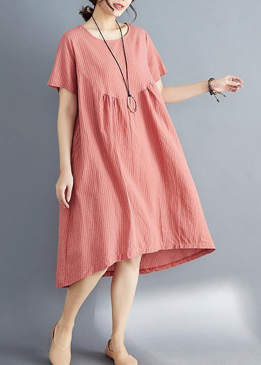 a28b3556d29f Load image into Gallery viewer, Women red striped Cotton clothes stylish o  neck asymmetric tunic ...