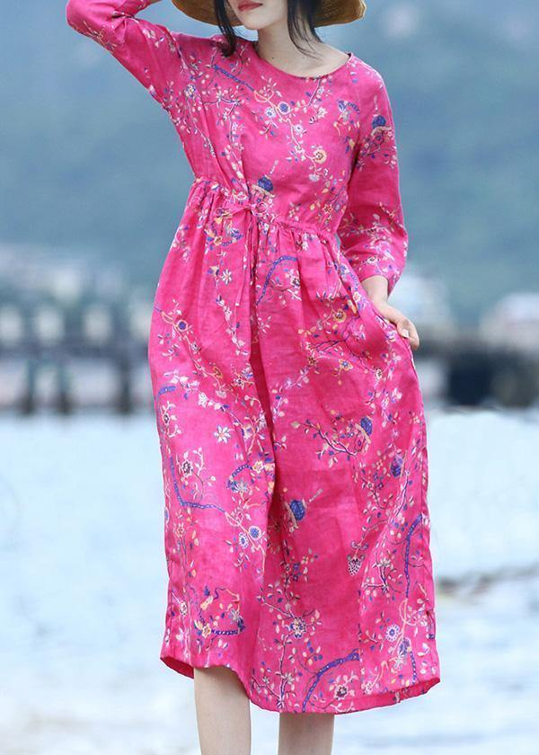 Women rose linen Long Shirts drawstring long prints Dress