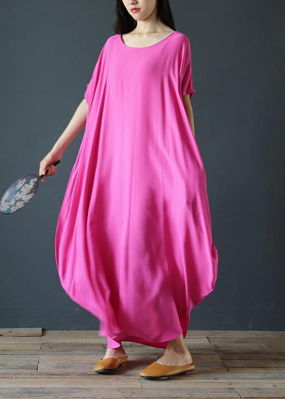 Women rose outfit o neck exra large hem  robes summer Dress