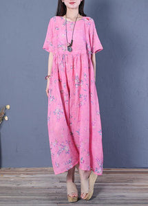 Women rose print linen Robes o neck wrinkled Maxi Dresses
