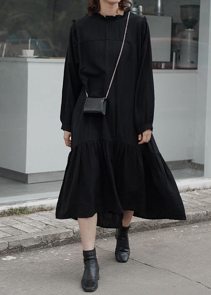 Women ruffles cotton stand collar tunics for women Photography black loose Dress
