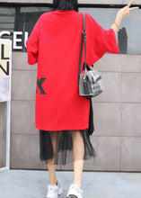 Load image into Gallery viewer, Women short sleeve Cotton dresses Sleeve red prints Dress summer
