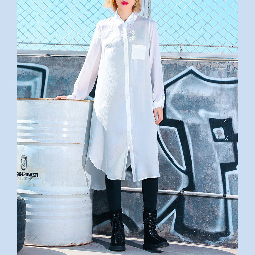 Women side open Cotton quilting clothes Pakistani Photography white oversized shirt Dress