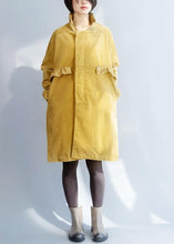 Load image into Gallery viewer, Women side open Fine ruffles collar clothes yellow short outwears