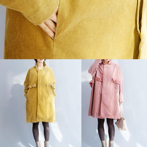 Women side open Fine ruffles collar clothes yellow short outwears